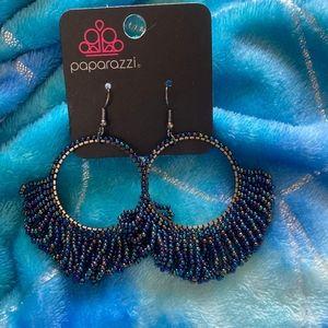Oil spilled sea bead earrings